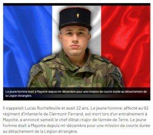 Mort d'un soldat à MAYOTTE